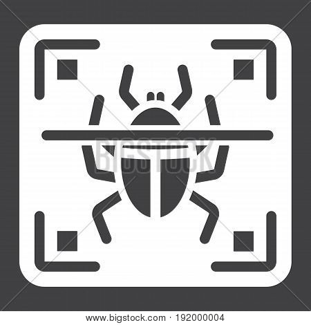 Virus scan solid icon, security and antivurus, vector graphics, a glyph pattern on a black background, eps 10.