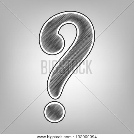 Question mark sign. Vector. Pencil sketch imitation. Dark gray scribble icon with dark gray outer contour at gray background.