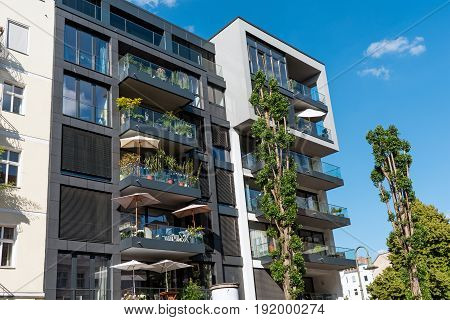 Modern apartment house seen in Berlin, Germany