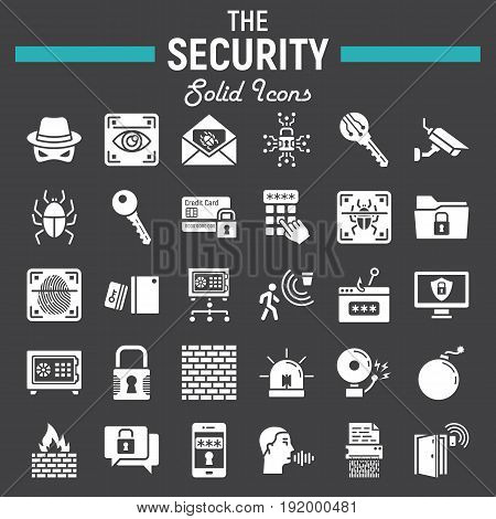 Security solid icon set, cyber protection symbols collection, safety vector sketches, logo illustrations, glyph pictograms package isolated on black background, eps 10.