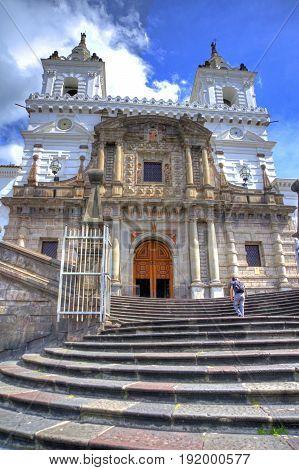 San Francisco church facade in downtown Quito, on a sunny morning.