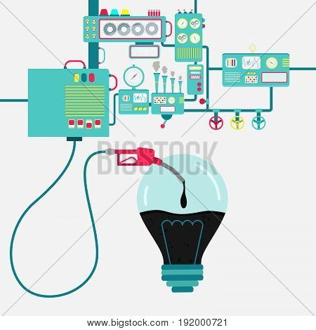 Machinery of factory refining oil and refueling a light bulb. Lamp shape being filled by a oil with gas pump.