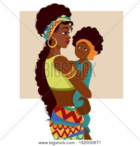 Beautiful young African-American woman of black mother and baby in cartoon style. Cards of Happy Mother's Day