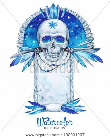 Watercolor vintage illustration. Hand painted old gravestone with skull. Halloween's night. Horror. Ready for print, poster, fashion design, greeting card.