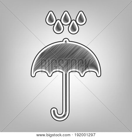 Umbrella with water drops. Rain protection symbol. Flat design style. Vector. Pencil sketch imitation. Dark gray scribble icon with dark gray outer contour at gray background.