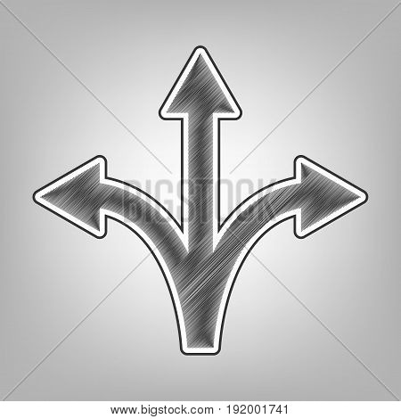 Three-way direction arrow sign. Vector. Pencil sketch imitation. Dark gray scribble icon with dark gray outer contour at gray background.