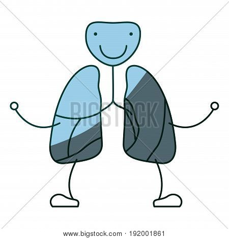blue color shading hand drawing contour caricature respiratory system with windpipe vector illustration