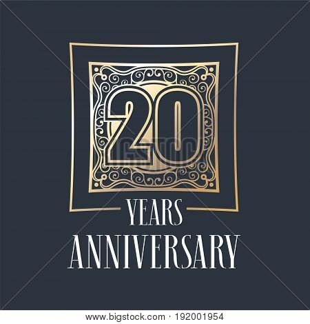 20 years anniversary vector icon logo. Graphic design element with golden frame and number for 20th anniversary decoration