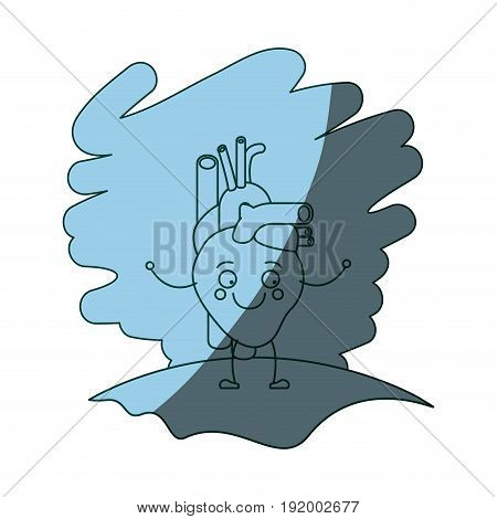 blue color shading scene in grass with silhouette caricature circulatory system with heart vector illustration