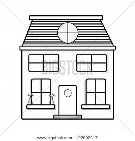 line house with two floor to have a good home vector illustration