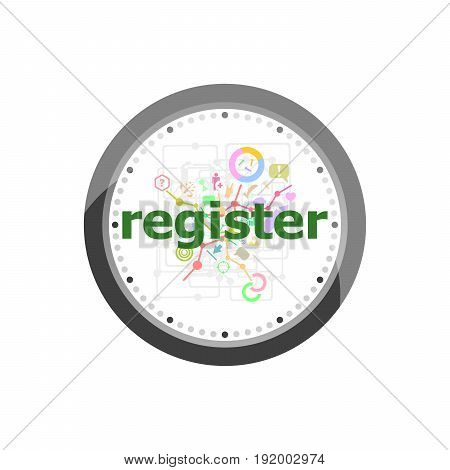 Text Register On Digital Background. Information Concept . Set Of Modern Flat Design Concept Icons F