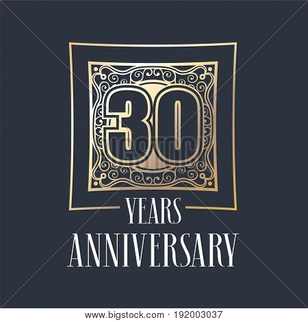 30 years anniversary vector icon logo. Graphic design element with golden frame and number for 30th anniversary decoration