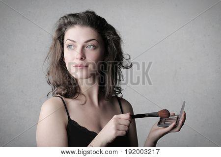 Pretty woman wearing make up