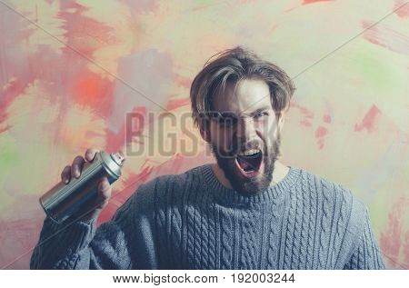 Angry Man Painter Shouting With Aerosol Spray Paint Bottle