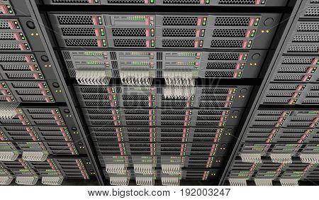 3D Rendered Illustration Of Servers In Datacenter.