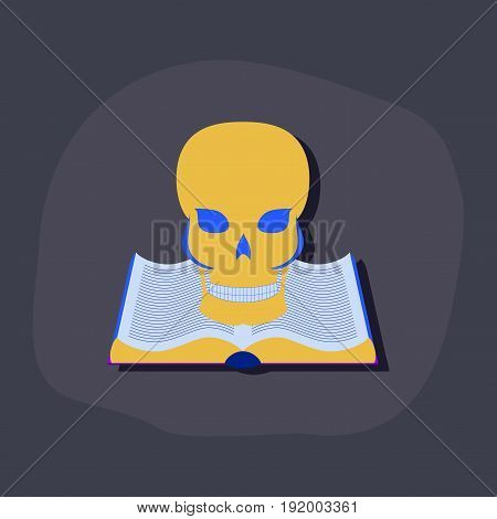 paper sticker on stylish background of book skull