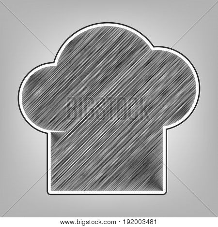 Chef cap sign. Vector. Pencil sketch imitation. Dark gray scribble icon with dark gray outer contour at gray background.