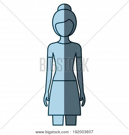 blue color shading silhouette faceless front view woman with skirt and collected hairstyle vector illustration