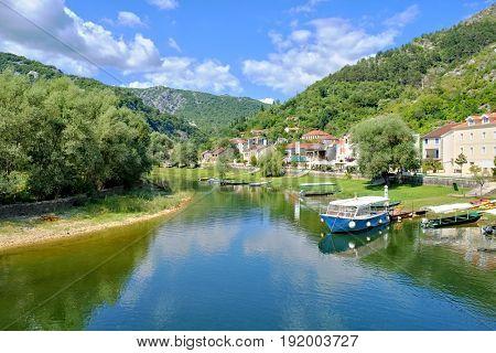 village on a river of Lake Skadar Park, Montenegro