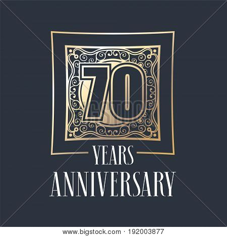 70 years anniversary vector icon logo. Graphic design element with golden frame and number for 70th anniversary decoration