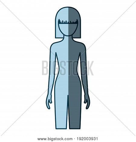 blue color shading silhouette faceless front view woman naked body with straight short hairstyle vector illustration