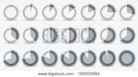 Set of circle percentage diagrams for infographics, 0 5 10 15 20 25 30 35 40 45 50 55 60 65 70 75 80 85 90 95 100 percent. Vector illustration.