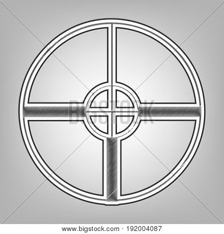 Sight sign illustration. Vector. Pencil sketch imitation. Dark gray scribble icon with dark gray outer contour at gray background.
