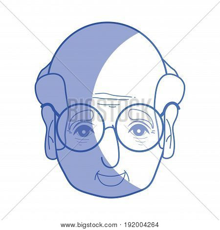 silhouette old man face with glasses and hairstyle vector illustration