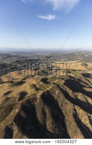 Aerial of Thousand Oaks, Newbury Park and the Santa Monica Mountains National Recreation Area near Los Angeles, California.
