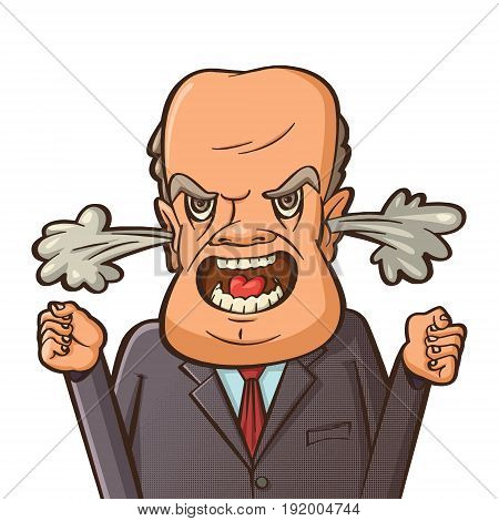 angry businessman shouting with steam coming out of his ears