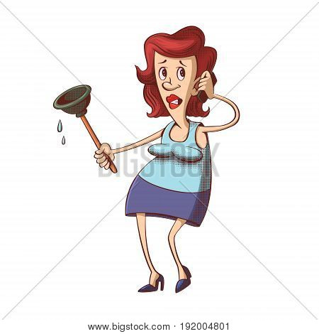 Frustrated woman with rubber plunger calling plumber, cartoon character