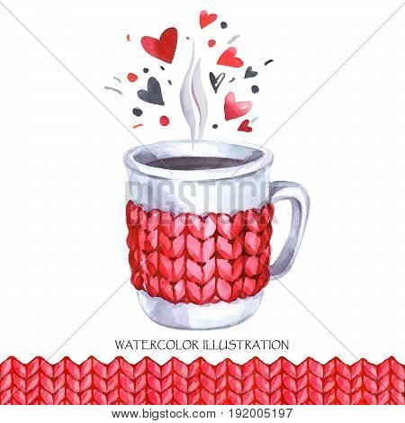 Watercolor vintage illustration. Hand painted cup of hot drink with knitting seamless border. Valentines day card. Lovely winter time. Ready for print, poster, fashion design, greeting card.
