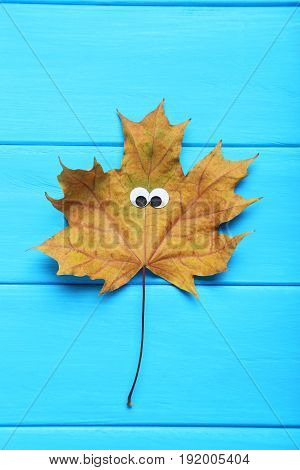 Autumn leaf with googly eyes on blue wooden table