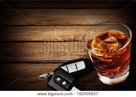 Key glass car whiskey bar background liquid