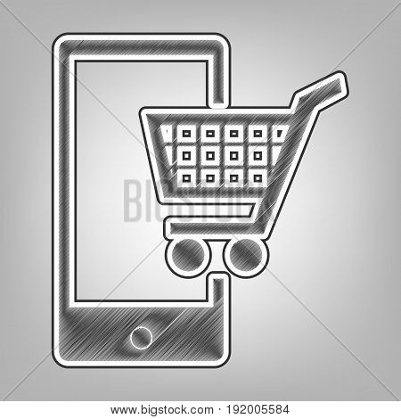 Shopping on smart phone sign. Vector. Pencil sketch imitation. Dark gray scribble icon with dark gray outer contour at gray background.