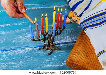 Jewish Holiday Hanukkah Background With Menorah