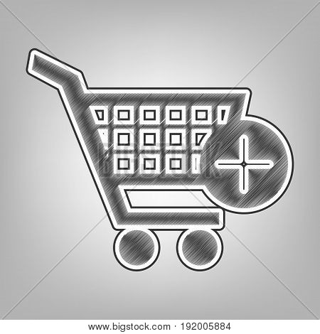 Shopping Cart with add Mark sign. Vector. Pencil sketch imitation. Dark gray scribble icon with dark gray outer contour at gray background.