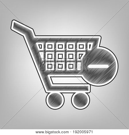 Vector Shopping Cart with Remove sign. Vector. Pencil sketch imitation. Dark gray scribble icon with dark gray outer contour at gray background.