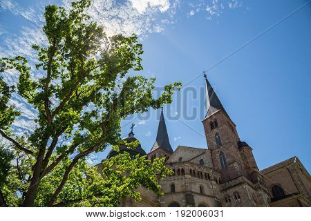 Trier Cathedral with blue sky pictures detail