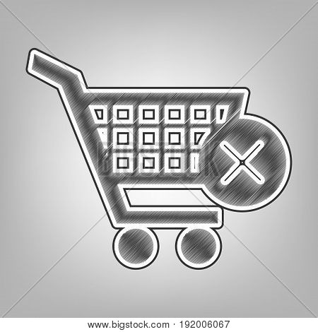 Shopping Cart with delete sign. Vector. Pencil sketch imitation. Dark gray scribble icon with dark gray outer contour at gray background.