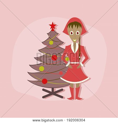 paper sticker on stylish background of Christmas girl and fir tree