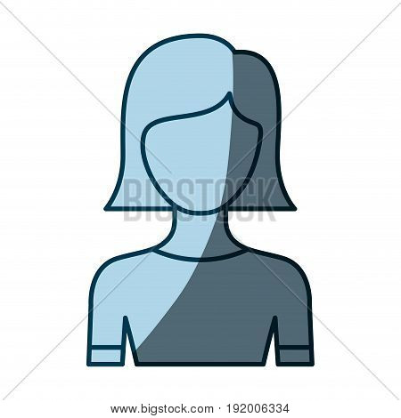 blue color shading silhouette faceless half body young woman with straight short hairstyle vector illustration