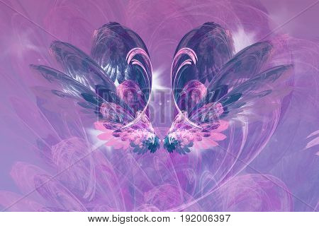 Exotic flower. Abstract glowing shapes on white background. Fantasy fractal design in blue and purple colors. Digital art.
