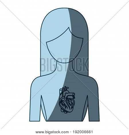 blue color shading silhouette half body female person with hearth system vector illustration