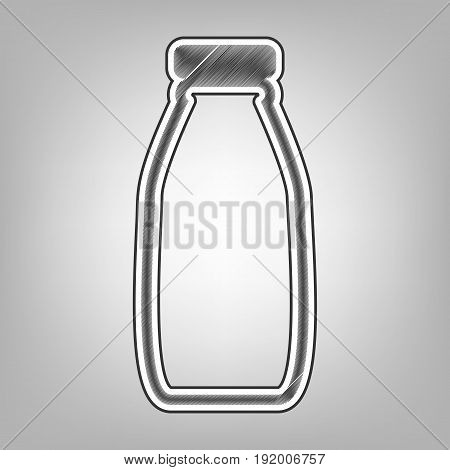 Milk bottle sign. Vector. Pencil sketch imitation. Dark gray scribble icon with dark gray outer contour at gray background.