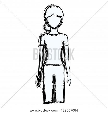 blurred silhouette faceless front view woman with pants and collected hair vector illustration