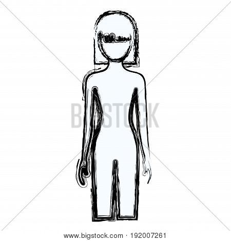 blurred silhouette faceless front view woman naked body with straight short hairstyle vector illustration