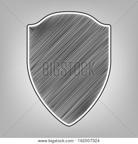 Shield sign illustration. Vector. Pencil sketch imitation. Dark gray scribble icon with dark gray outer contour at gray background.