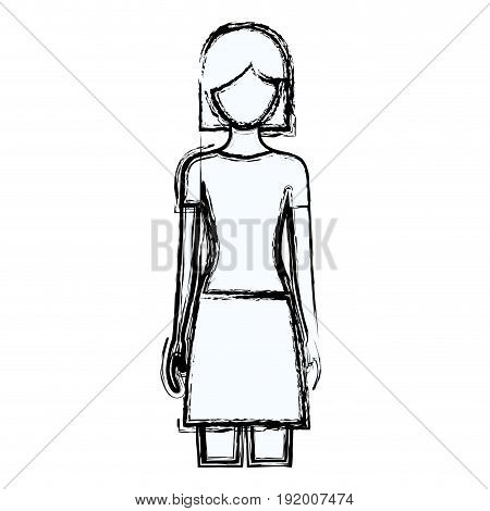 blurred silhouette faceless front view woman with skirt and short hair vector illustration