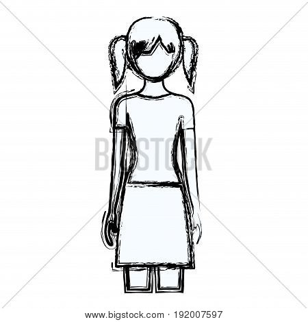 blurred silhouette faceless front view woman with skirt and tall pigtails hairstyle vector illustration
